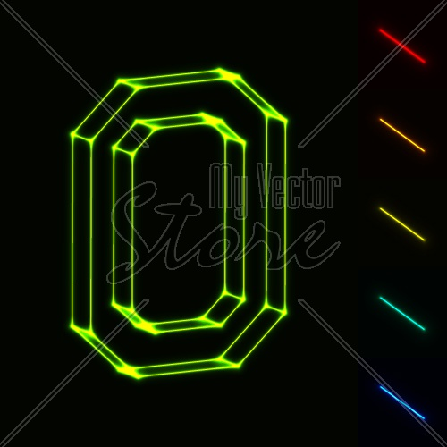 EPS10 vector glowing wireframe letter O - easy to change color