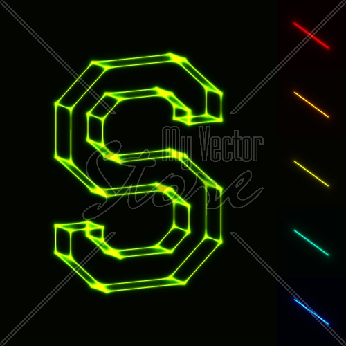EPS10 vector glowing wireframe letter S - easy to change color