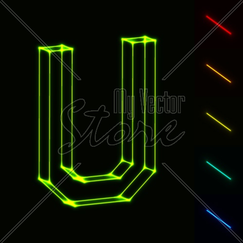 EPS10 vector glowing wireframe letter U - easy to change color