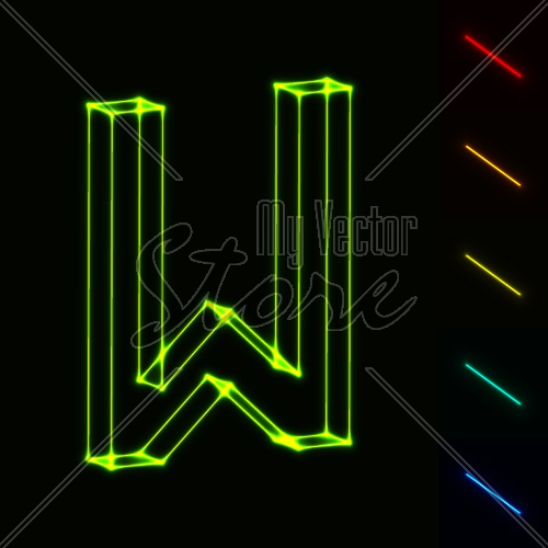 EPS10 vector glowing wireframe letter W - easy to change color