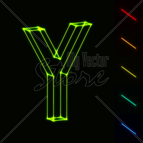 EPS10 vector glowing wireframe letter Y - easy to change color