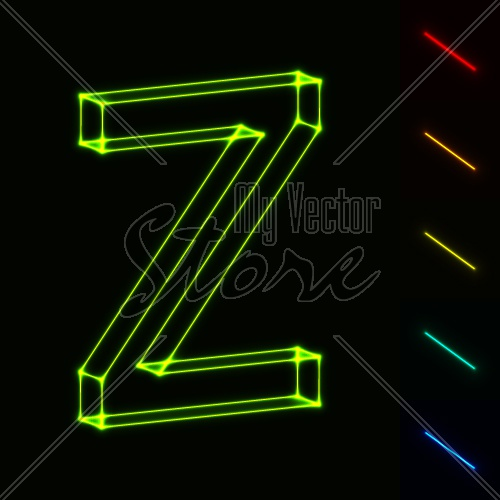 EPS10 vector glowing wireframe letter Z - easy to change color