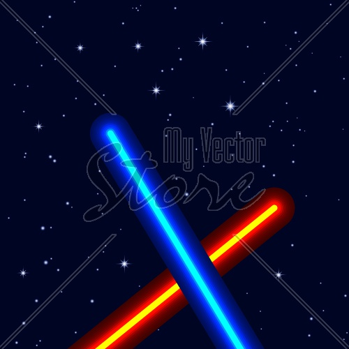 EPS10 vector light swords on night sky