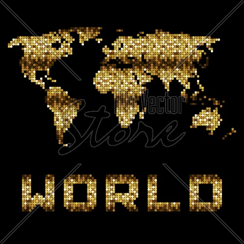 vector golden dotted world map