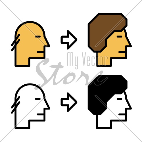 vector growth hair icons before and after