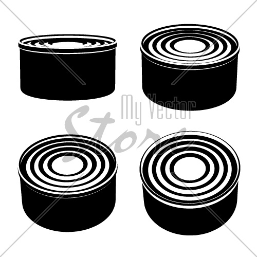 vector food cans black symbol