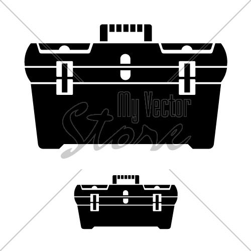 vector tool box black symbol