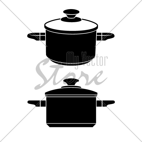 vector 3d kitchen pot black symbol