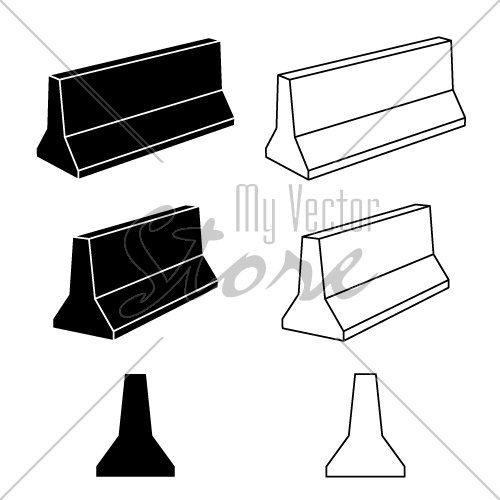 vector 3d concrete road barrier black symbols