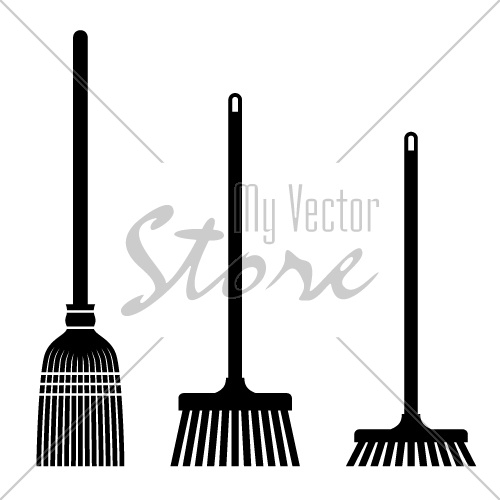 vector sweeping broom black symbols