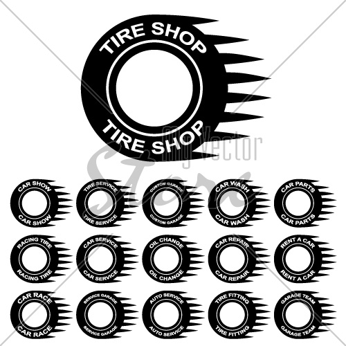 tire service shop rent wash car garage vector