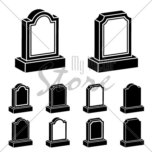 3d tombstone black symbol vector