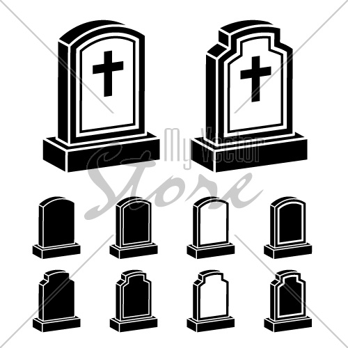 3d tombstone cross black symbol vector