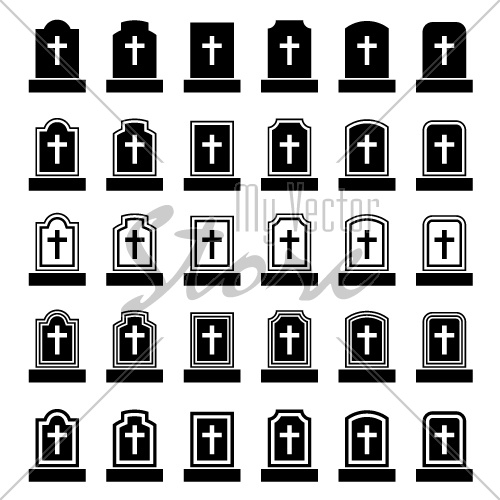 tombstone cross black symbol vector