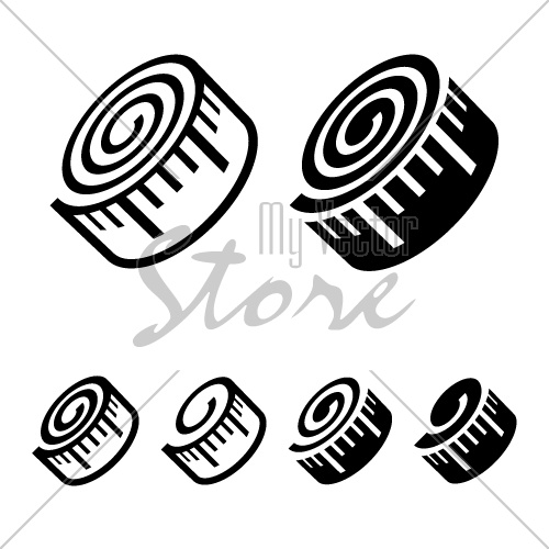 fitness measuring tape black symbol vector