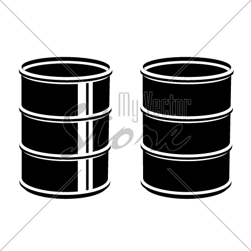3D metal barrel black symbol vector