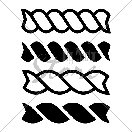 fusilli pasta black line icon vector