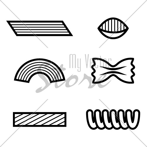 pasta black line icon vector