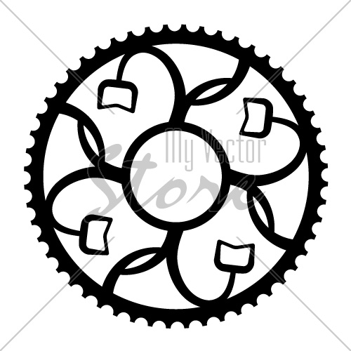vintage bicycle cogwheel chainwheel symbol vector