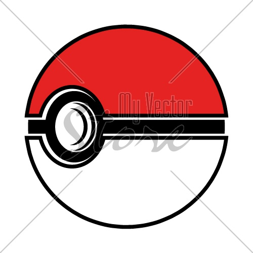 3D pokeball simple icon vector