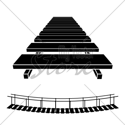 vector simple rope suspension hanging bridge black symbol