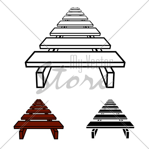 3D simple wooden footbridge black symbol vector