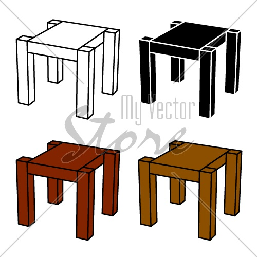 3D simple wooden table black symbol vector
