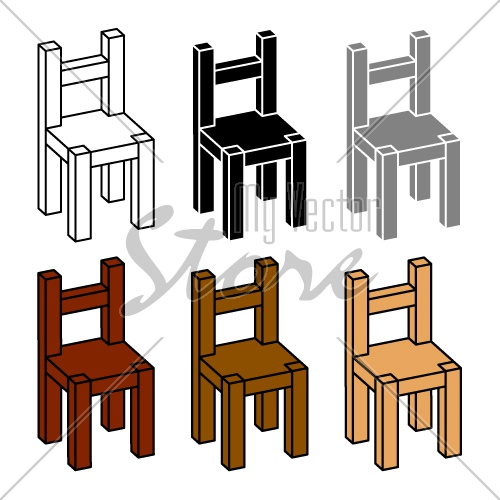 3D simple wooden chair black symbol vector
