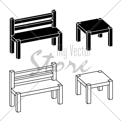 3D simple wooden bench table vector