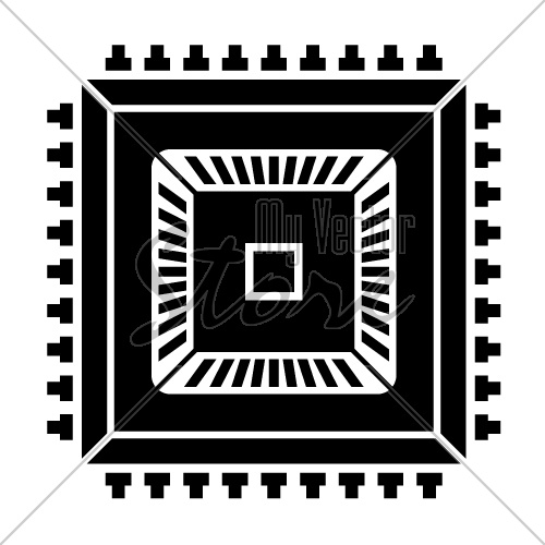 electronic chip black symbol vector
