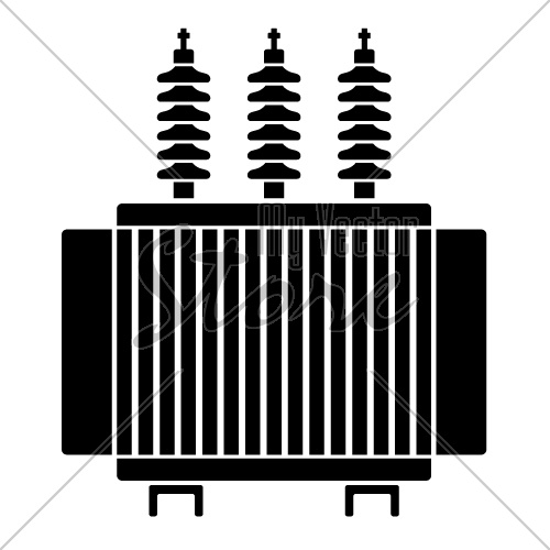 vector high voltage electrical transformer black symbol