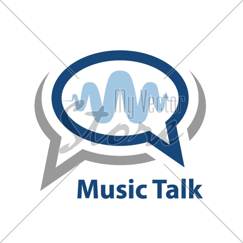 speech bubble music wave talk icon vector