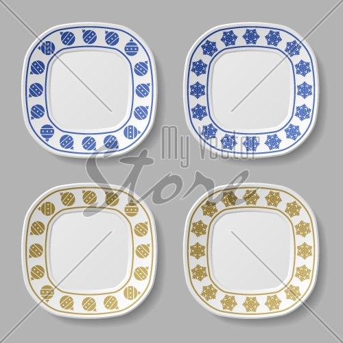 ornate christmas ball snowflake plates vector