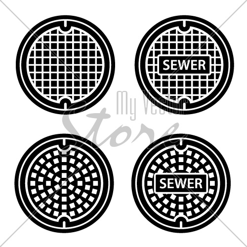 manhole sewer cover black symbol vector