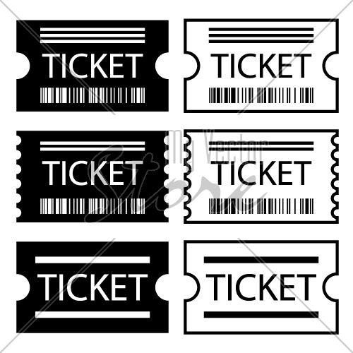 paper ticket symbol black white vector