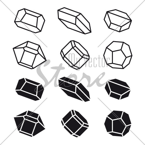 mineral crystal stone black white symbol vector
