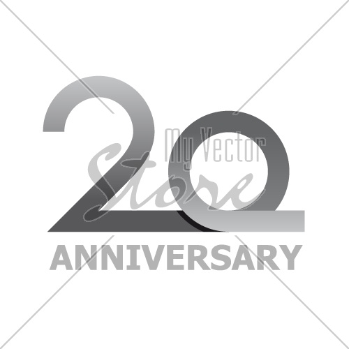 20 years anniversary number vector