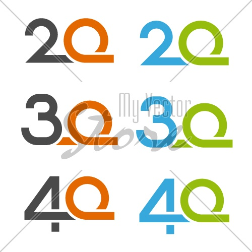 20 30 40 anniversary number vector