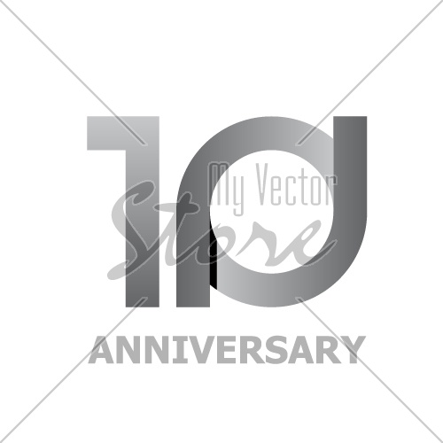 10 years anniversary number vector