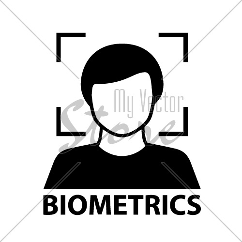 biometrics face recognition black symbol vector