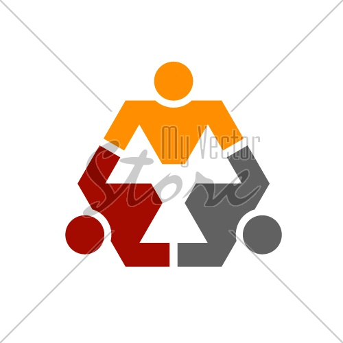 human community hexagon symbol vector