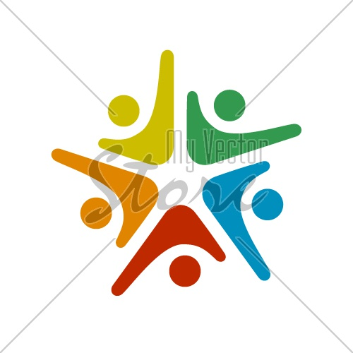 human community five people symbol vector