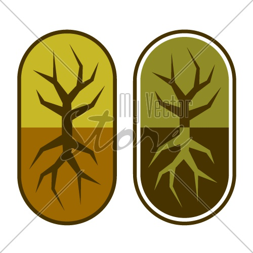 abstract capsule with tree symbol vector