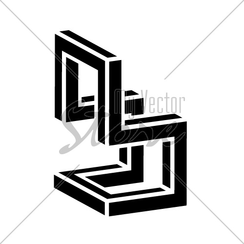3D chair black symbol vector