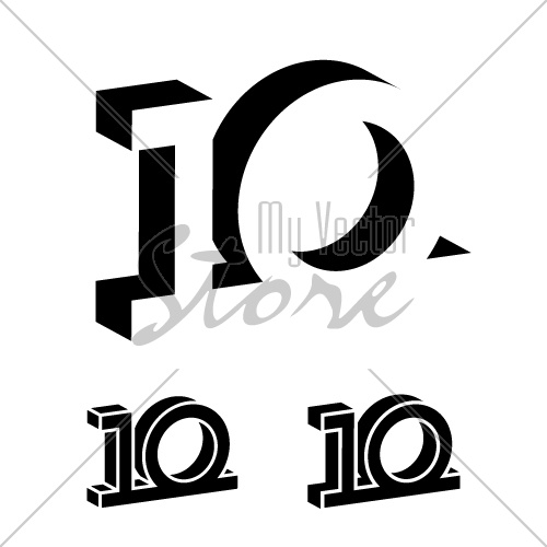 3d black 10 years number vector