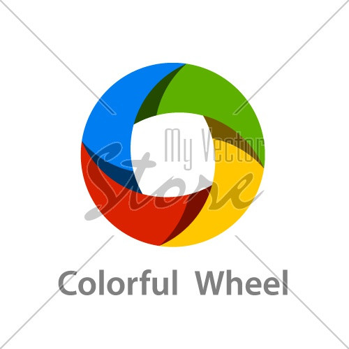 abstract colorful wheel logo icon design vector
