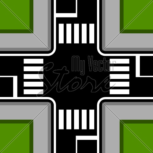 urban crossroad with crosswalks vector
