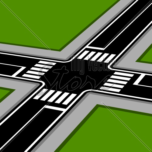 3D pespective crossroad with crosswalks vector