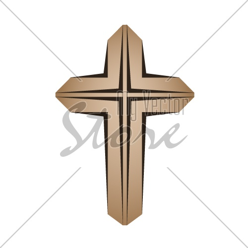 wooden christian cross vector