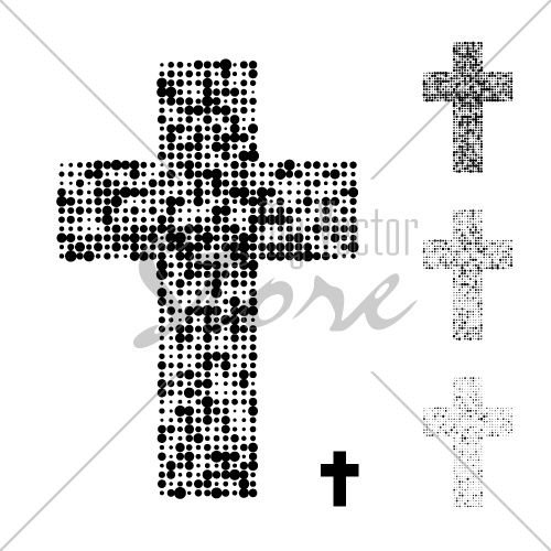 dotted halftone grunge christian cross vector
